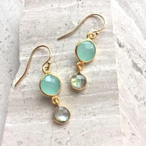 14K/ sterling Aqua Chalcedony Labradorite Earrings